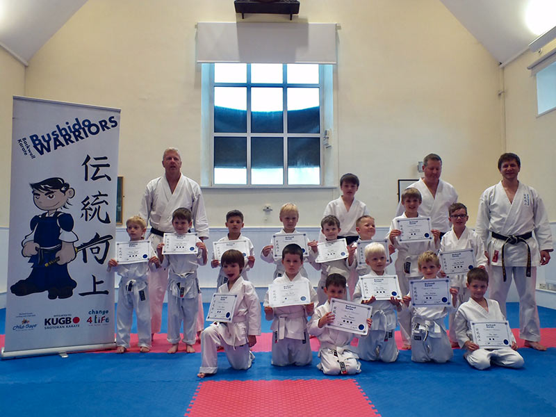 Certificate presentation at the end of Karate course for 5-7 year olds