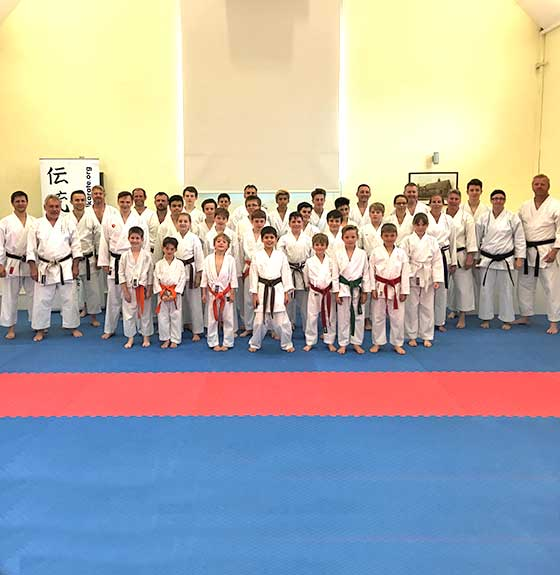 Class photo taken at a Bristol Karate Academy dojo