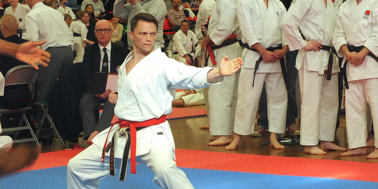 Sensei Tim Griffiths on his way to winning the Legend Open Championships