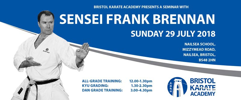 BOOK NOW FOR SPECIAL SEMINAR WITH SENSEI FRANK BRENNAN