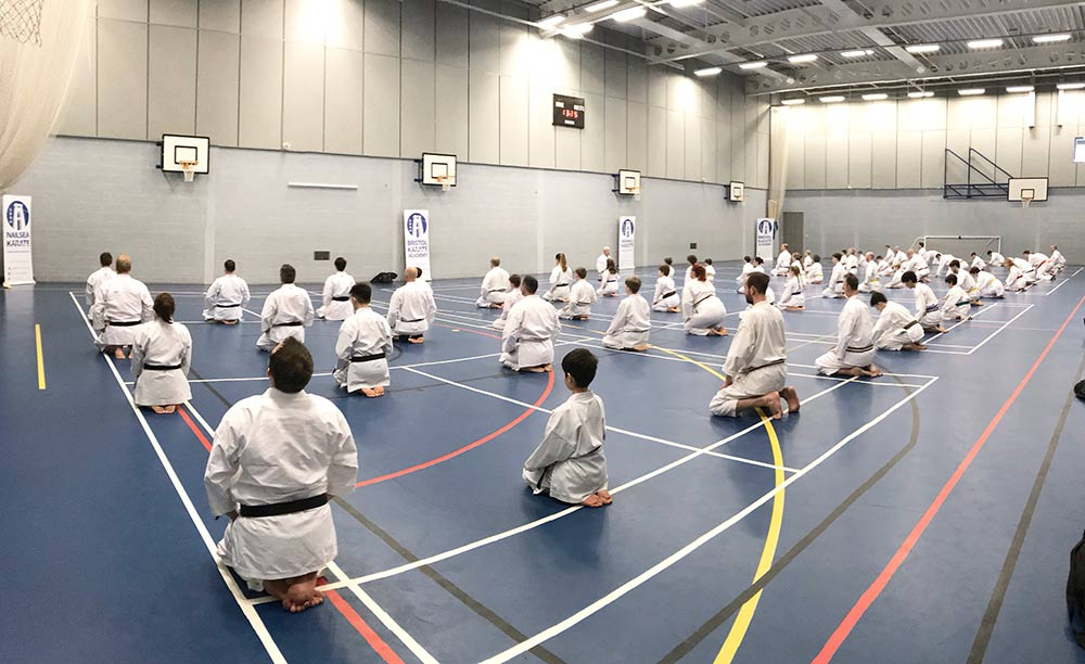 The class lines up after the first of two seminars with Sensei Andy Sherry