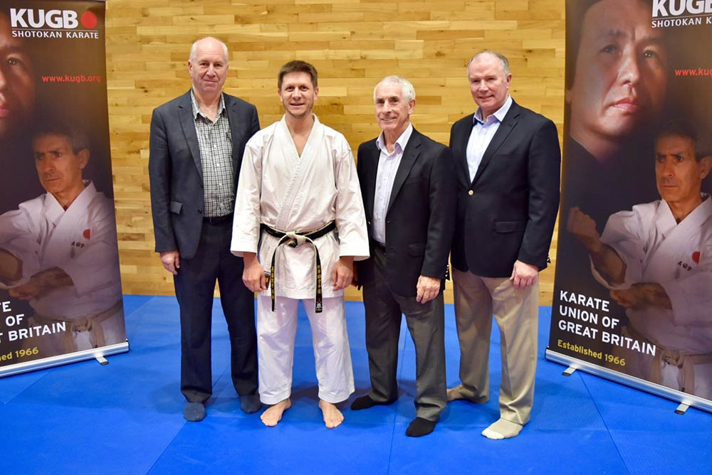 Dan pictured with his grading examiners, Sensei Poynton, Sensei Sherry and Sensei Brennan.
